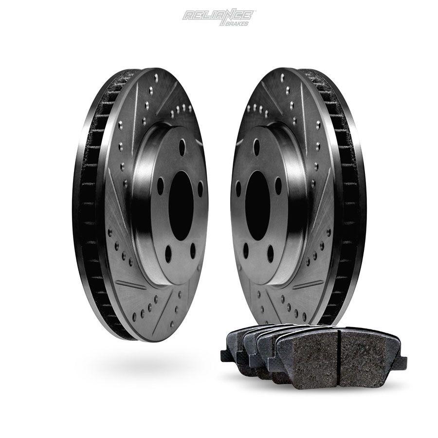 For 1997-1998 Volkswagen Golf Jetta Front Black Brake Rotors+Ceramic Pads