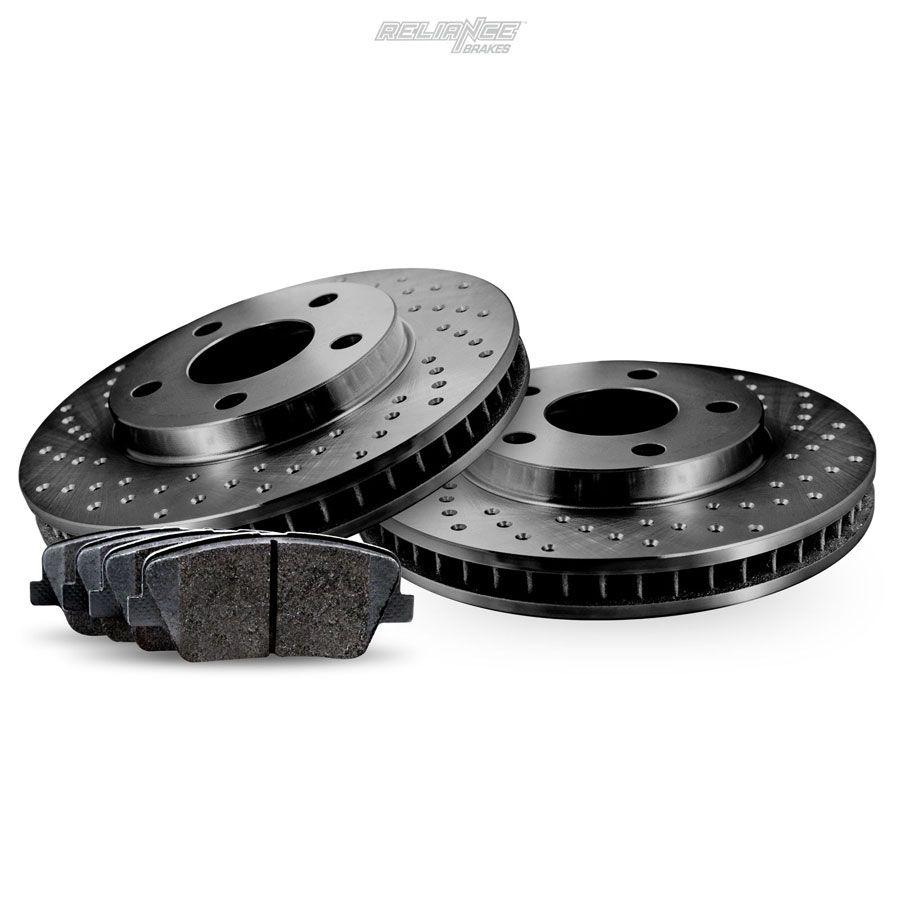 Fit 2012-2014 Hyundai Genesis Front Rear Drill Slot Brake Rotors+Ceramic Pads