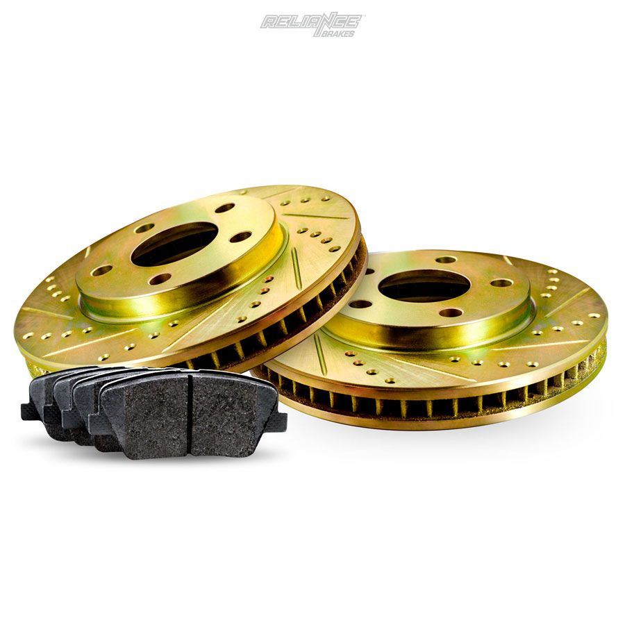 Rear Gold Drilled Slotted Brake Rotors And Ceramic Pads 1995 1997 Volvo 940 960 Ebay